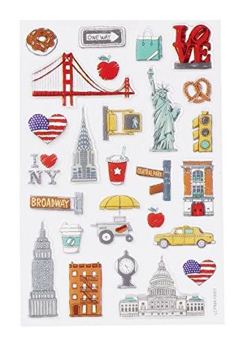 Hobbyfun GLOSSY-Sticker USA, Bogen 10 x 15 cm