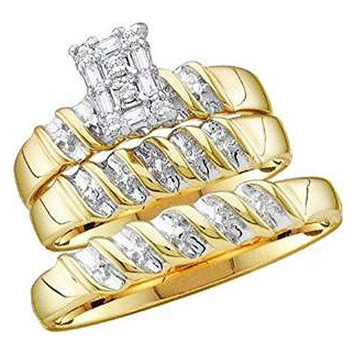 Dazzlingrock Collection Anillo de compromiso de oro amarillo de 0,10 quilates con diamante blanco de 10 quilates para hombre y mujer