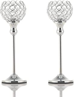 VINCIGANT Crystal Hurricane Candle Holder Silver Candlestick Set of 2 for Anniversary Celebration Coffee Table Modern Decorative Centerpieces