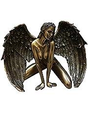 MagiDeal Bronzen Afwerking Gevleugelde Naakte Engel Sculptuur Standbeeld Erotische Kunst Ornament - Vrouw