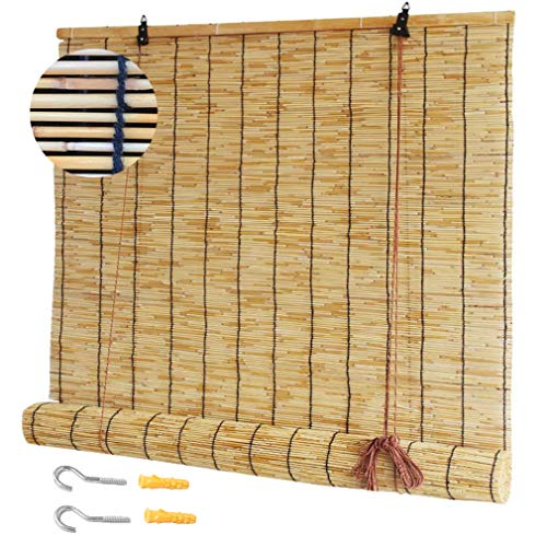 NIANXINN Natural Roll-up Reed Shade,Sunshade Roller Blinds,Bamboo Shades for Windows,Premium Retro Straw Blinds,Decorative Reed Curtains, Sunshade/Heat Insulation,Customizable Size(50x60cm/20x24in)