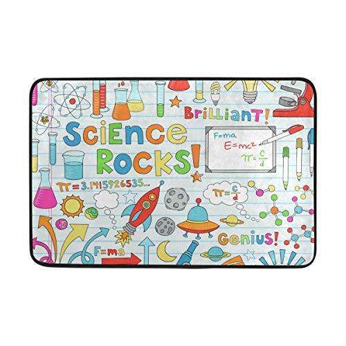 Felpudo de baño antideslizante para escuela de ciencias y cuadernos para interiores y exteriores, alfombra superabsorbente de 24 x 16 pulgadas