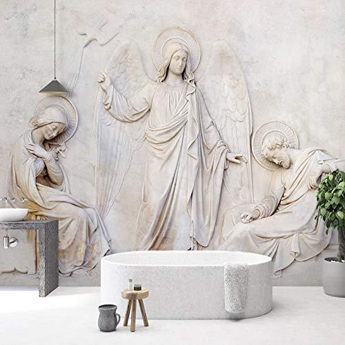 Fotobehang Fotobehang Thuis Aangepaste Fotobehang Europese Stijl 3D Stereoscopische Relief Engel Standbeeld Mural Woonkamer Slaapbank TV Achtergrond Papel De Parede