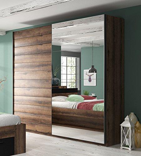 Furniture24 Schwebetürenschrank Berta 57, Schrank, Kleiderschrank, 2 Türiger Schlafzimmerschrank mit Spiegel, Kleiderstange und 6 Einlegeboden (Monastery Eiche, 200/210/61 cm)