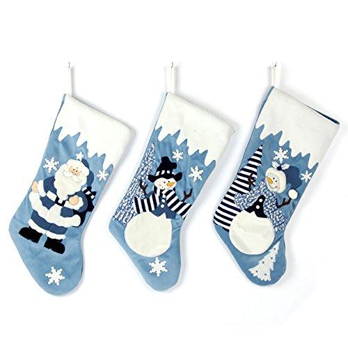 Etistta Classic 19 inch Blue Christmas Stockings Set of 3, Blue Silver Christmas Decor Velvet Applique Stockings for Christmas Fireplace Decorations - Santa, Snowman