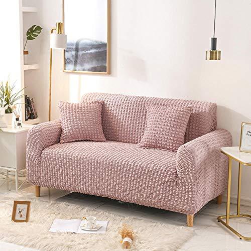 Fsogasilttlv Funda de Sofá Elástica,Solid Color Couch Covers Non-Slip Furniture Protective Cover, Sofas Furniture Sofa Slipcovers Elastic For Living Room-Pink 4 Seater 235-300cm(1pcs)