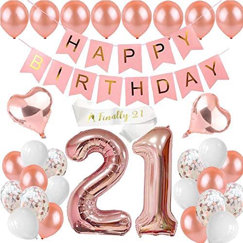 sancuanyi 21. Geburtstag Dekorationen Rose Gold, Nummer 21 Geburtstag Luftballons, 21th Happy Birthday Party Ballons Banner für Mädchen und Jungen