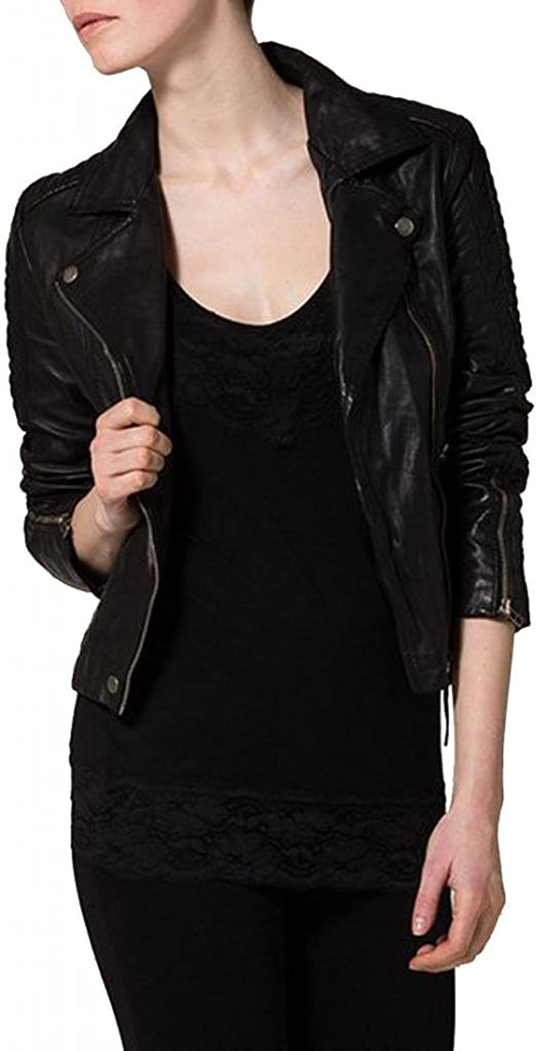 Women's Soft Ladies REAL Leather Stylish Fitted BIKER Jacket W116