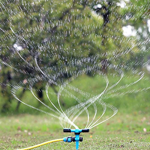dmjx - Aspersor automático para césped con rotación de 360 Grados, rociador de Agua Ajustable para jardín, Resistente con 3 Brazos, fácil conexión de Manguera, Sistema de riego para jardinería