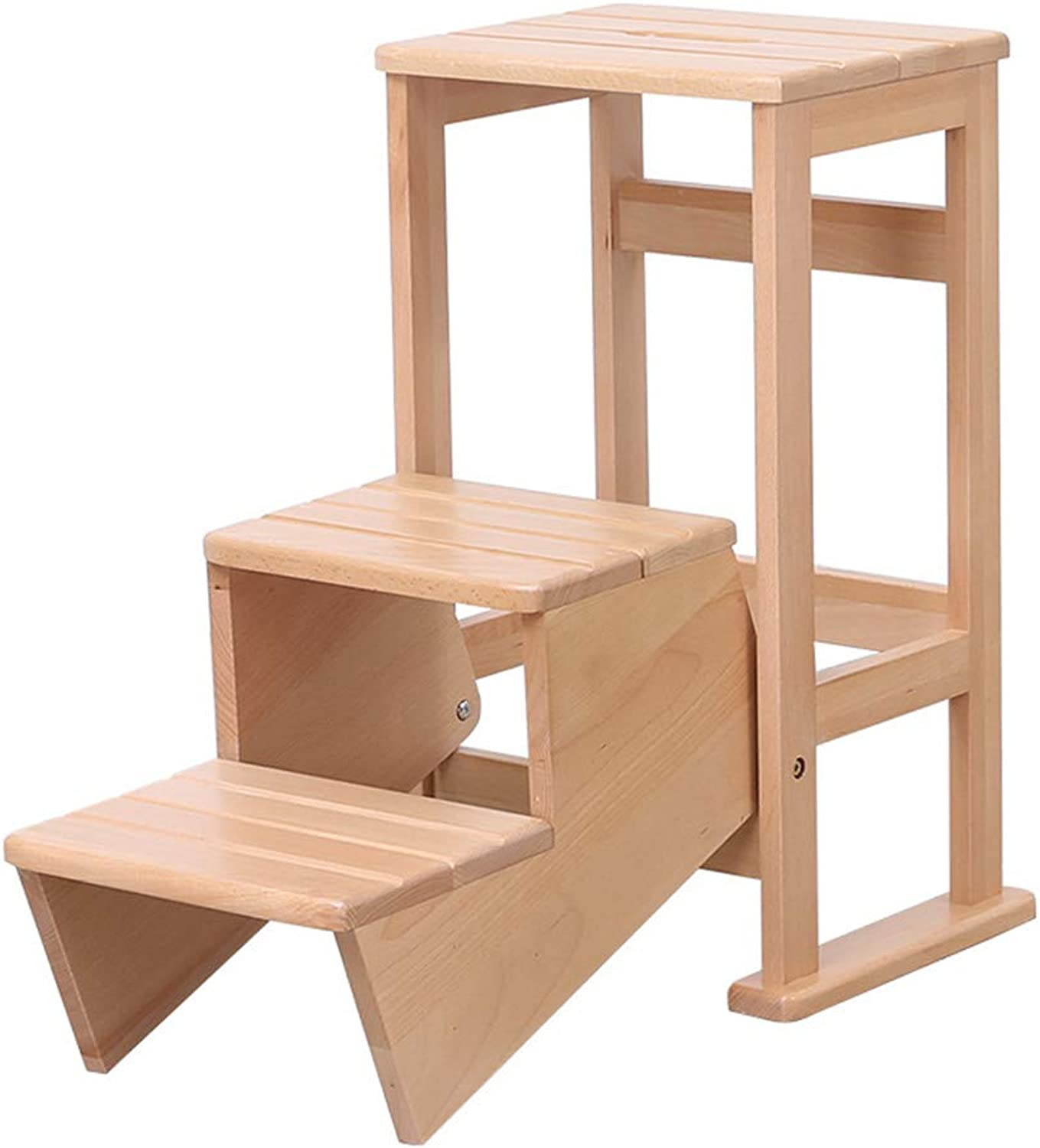 Wooden Stepstool Ladder, Step Ladders Folding Stool, Lightweight Step Stool with Wide Pedal, Sturdy Wood Beech Step Stairway Chair