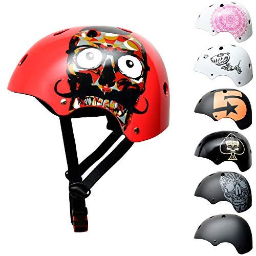 Skullcap BMX Helm - Skaterhelm - Fahrradhelm - Herren Damen Jungs & Kinderhelm, rot, Gr. S (53 - 55 cm), Red Ocean