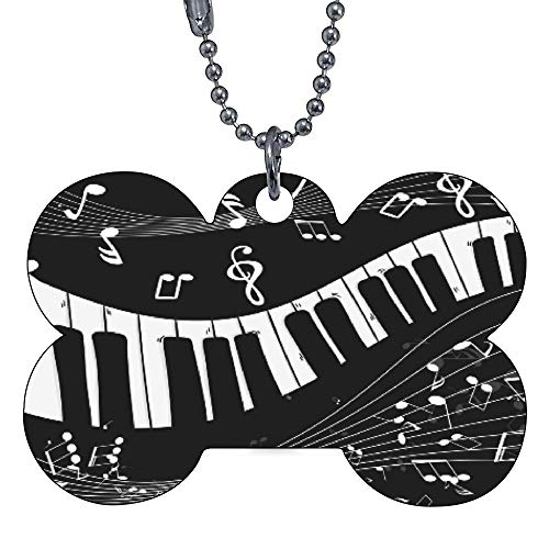 Custom Pet ID Tags, Piano Keys Musical Notes Bone Personalized Dog Tags Cat Tags Identification Custom Text Pet Tag Bow Tie
