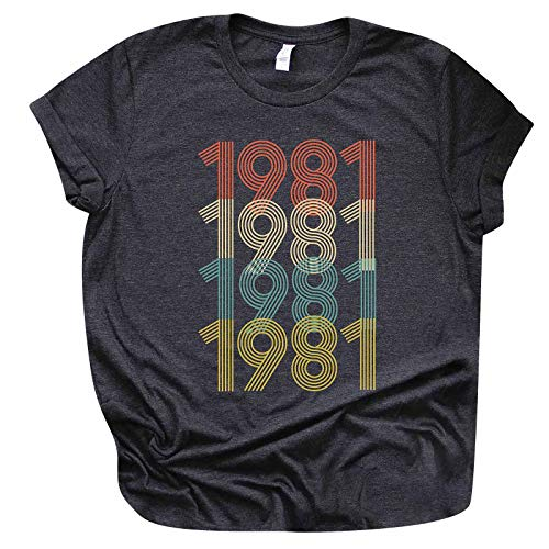Camiseta de manga corta para mujer, para cumpleaños, verano, diseño divertido para regalar a las mujeres, elegante blusa, manga corta, cuello redondo, básica, túnica, 1978, Gris oscuro D., XXXL