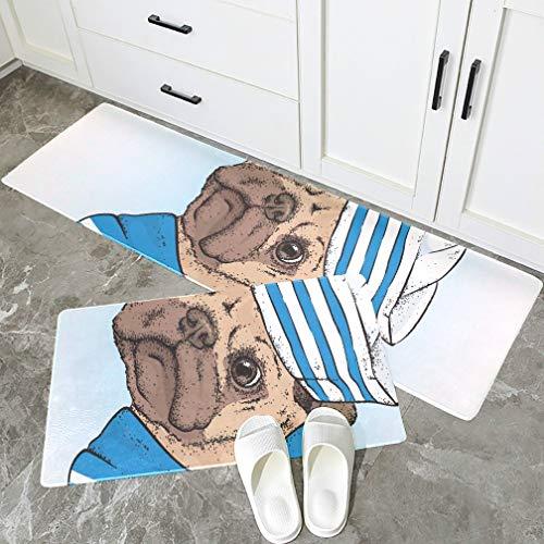 JINCAII Bunter Küchenteppich EIN schöner Hund in Matrosenkleidung Rutschfester Bodenteppich Küche Wasserdicht Fleckabweisend Haustürmatte Outdoor-Set bestehend aus 2 Teilen