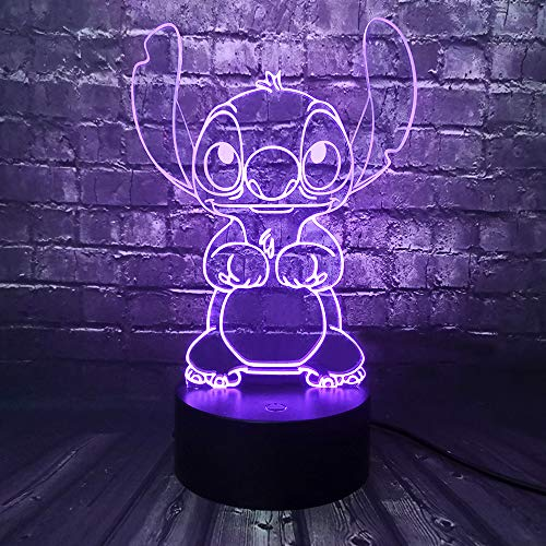 Lilo and Stitch Teddy Lamp 3D Visual Safe of Baby Smart Sensor Touch Change Cartoon 7 Color LED Home Bedside Night Mood Light Holiday Birthday Friends Kids Gift Toy
