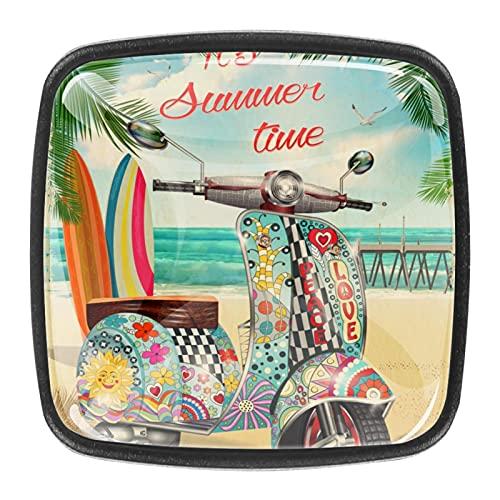 Perillas del gabinete 4pcs Tiradores vidrio cristal,Es scooter de verano ,para puerta mueble abierta o cajón