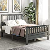 Full Bed Frame ,Wood Platform Bed with Headboard ,Full Size Bed Frame for Kids ,No Spring Box Needed (Grey Full Bed)