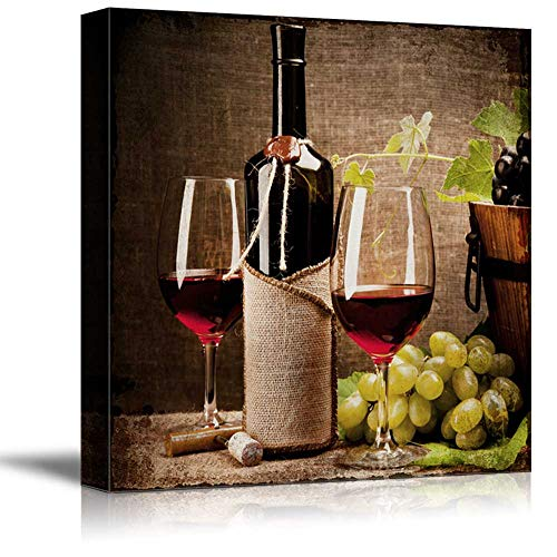 wall26 - Square Canvas Wall Art - Glasses of Wine with Wine Bottle and Grapes - Giclee Print Gallery Wrap Modern Home Art Ready to Hang - 24x24 inches