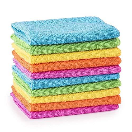 Guilty Gadgets Lot de 10 chiffons de nettoyage en microfibre pour voiture et salle de bain 30 cm x 30 cm,Multicolore
