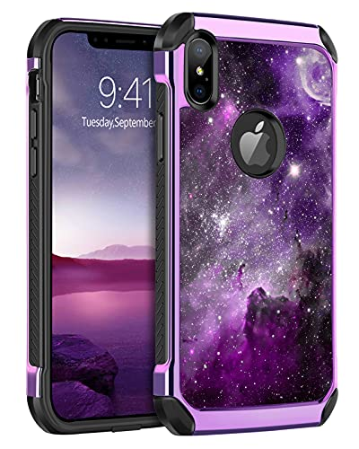 BENTOBEN iPhone Xs Max Case, Shockproof Glow in The Dark Slim 2 in 1 Hybrid Hard PC Soft Bumper Nebula Space Design Anti-scratch Protective Phone Cases Cover for iPhone Xs Max 6.5' 2017, Purple Galaxy