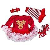 TMOYJPX Navidad Disfraz Niña Vestido Niño 0-24 Meses Princesa Invierno, 'My 1st Christmas' Conjunto Ropa Bebe Niña, Mono de Falda + Banda + Calcetines (G, 6-12 meses)