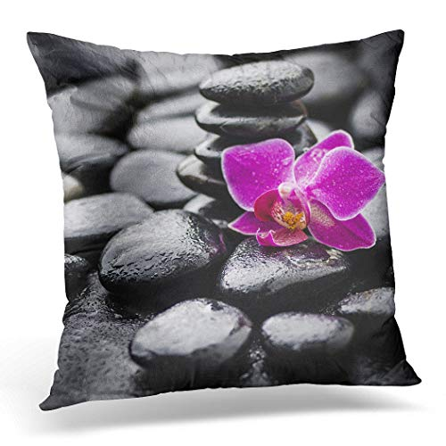 Awowee Cushion Cover 40x40cm/16x16inches Green Alternative Zen Basalt Stones and Orchid Pink Aroma Home Decor Throw Pillow Cover Square Pillowcase for Bed Sofa