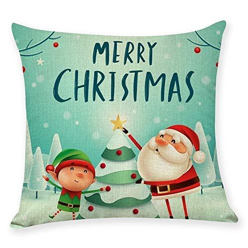 Cojín de Serie Christmas Almohada Cubierta Plaza de Almohada del sofá decoración de Dibujos Animados para Las Decoraciones de Navidad (Color : Green, Size : 4)