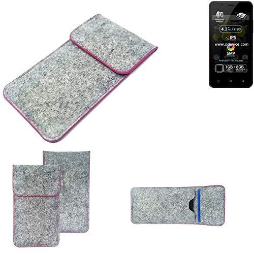 K-S-Trade® Handy Schutz Hülle Für Allview P4 Pro Schutzhülle Handyhülle Filztasche Pouch Tasche Case Sleeve Filzhülle Hellgrau Pinker Rand