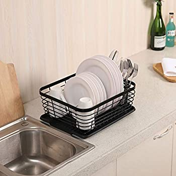 Black Esylife Kitchen Dish Drainer Drying Rack With Drip Tray And Full Mesh Silverware Storage Basket Black Amazon Com Au Kitchen Dining
