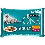 Purina One Húmedo Gato Adult con roscas de Salsa con Pollo y judías, con Ternera y Zanahoria, 48 Sobres de 85 g Cada una (12 Paquetes de 4 x 85 g)