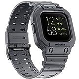 amBand Bracelet Compatible avec Fitbit Versa 3 /Fitbit Versa 2/Fitbit Versa Lite, TPU Montre connectée, Fitbit Bracelet de Montre avec étui de Protection pour Femmes Hommes Gris