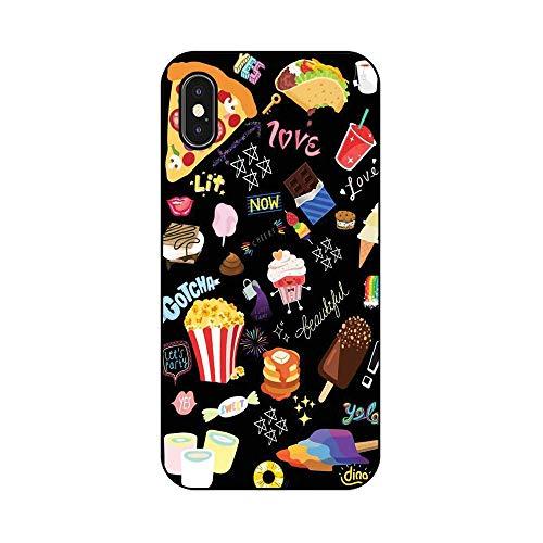 EREMITI JEWELS Cover Personalizzata Cartone Cibo Pizza Pop Corn Gelato Candy Smartphone 5 5C 6 6S 6 Plus 6S Plus 7 7PLUS 8 8PLUS X (iPhone X)