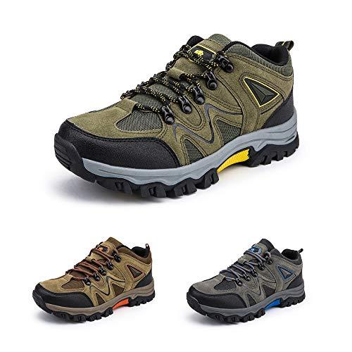 Bandkos Trekkingschuhe Herren Wanderschuhe LeichteAtmungsaktiv Outdoor Sportschuhe rutschfeste Hiking Sneaker Schwarz Grün Khaki Größe 39-47,GR-46
