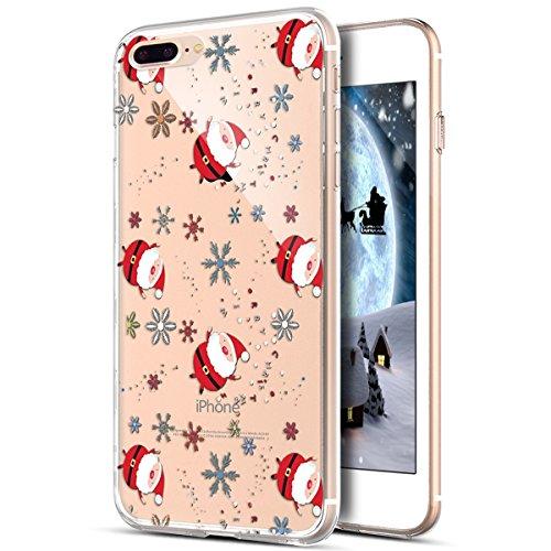 Cover iPhone 8 Plus,Cover iPhone 7 Plus,ikasus Serie pittura natalizia fiocco neve Snowflake Trasparente Morbida TPU Silicone Gel Custodia Case Cover per iPhone 8 Plus/7 Plus,Fiocco neve Babbo Natale
