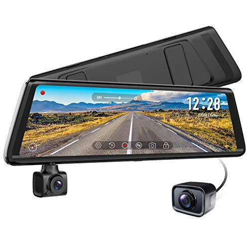 AUTO-VOX A1 Uber 3-in-1 Stream Media Rear View Mirror, 1080P Rotating Front or Inside Dash 720P AHD Waterproof Backup Camera kit