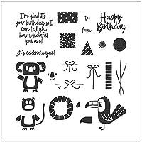 jokeWEN クリアスタンプ シリコンスタンプ お誕生日おめでとうDIYシリコンクリアスタンプしがみつくシールスクラップブックエンボスアルバム