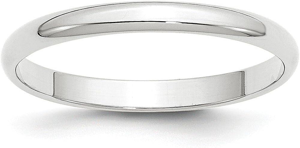 Solid 14k White Gold 2.5mm Half Round Wedding Band