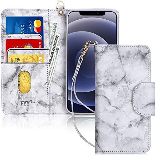 """Fyy Coque pour iPhone 12 Pro Max, fabriquée à la main en cuir synthétique avec porte-carte, étui de protection résistant aux chocs et poche pour billets, pour Apple iPhone 12 Pro Max 6,7"""" (2020) Motif 27"""
