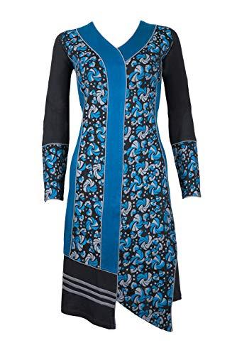 Filosophie Asymmetrisches Langarm Kleid/Freizeitkleid mit bunten graphischen Muster - Hippie Chic - 100{b7ecf3b2c3bab0a069be8e81431e485a7ffac47bd3a94132d8c135ab558e021f} Baumwolle - Zoya (Blau) (S/M)