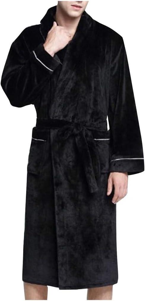CUJUX Bathrobe Women Men's Winter Plush Lengthened Shawl Bathrobe Home Clothes Long Sleeved Robe Coat (Size : XXX-Large)