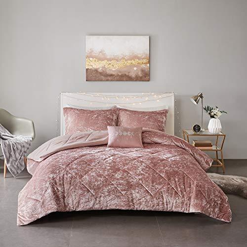 Intelligent Design Felicia Luxe Comforter Velvet Lush Double Sided Diamond Quilting Modern All Season Bedding Set with Matching Sham, Decorative Pillow, Full/Queen, Blush