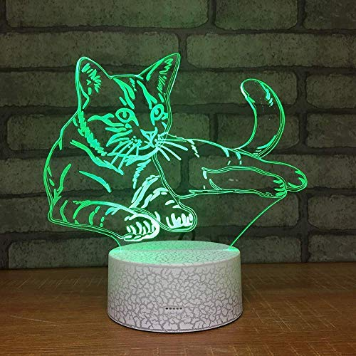 Lovely Cat 3D Night Light Touch Swith LED Tier 3D Lampe 7 Farben USB 3D Illusion Schreibtischlampe Dekoration für Zuhause als Spielzeug Geschenk für Kinder