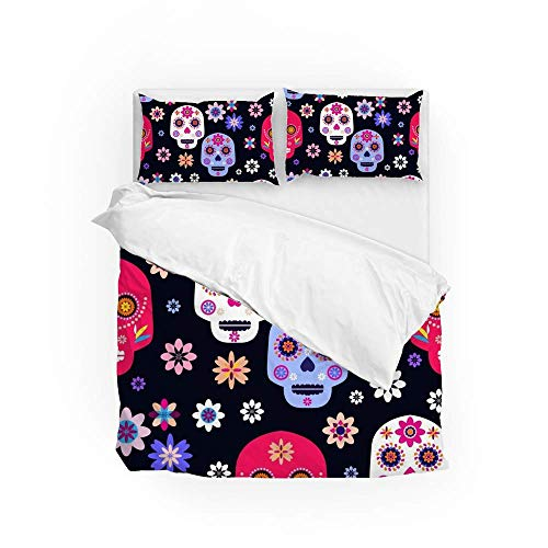 161 Soft Quilt Bedding Set Skulls And Colorful Flowers Duvet Cover with 2 Pillowcases Set 3 PCS 260 x 220 CM, Super King