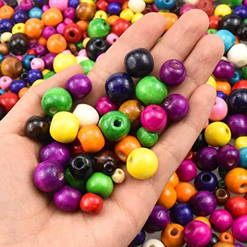 Dokpav 500 Pezzi Perline in Legno Colorate Atossiche, Palline di Legno Colorate con Foro, Perline Legno per Artigianato Collane Braccialetti 6mm,8mm,10mm, 12mm, 14mm