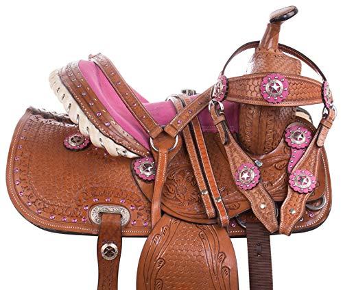 Acerugs Western Kids Youth Pony OR Horse Saddle TACK Set Suede SEAT 10 12 13 14 (12)