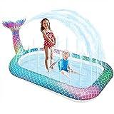 onozio Splash Pad, Piscina Hinchable con Rociadores, Almohadilla para Piscina con Salpicaduras de Sirena para niños de 3 a 12 años, niñas, niños, Perros (166*100cm)