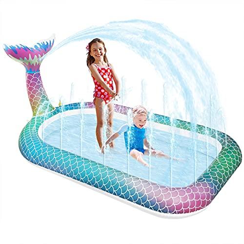 onozio Splash Pool Pad,Aufblasbarer Sprinkler Pool für Kinder, Outdoor Wasserspielzeug Sprinkler Mermaid für Kinder über 3 Jahre,Haustier Hunde (166*100cm*18cm)