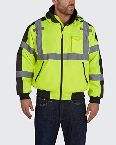 Utility Pro UHV575 High-Vis Waterproof Bomber Jacket with Removable Fleece Liner and Teflon Fabric Protector for Liquid and Stain Repellency, Lime, 2X-Large