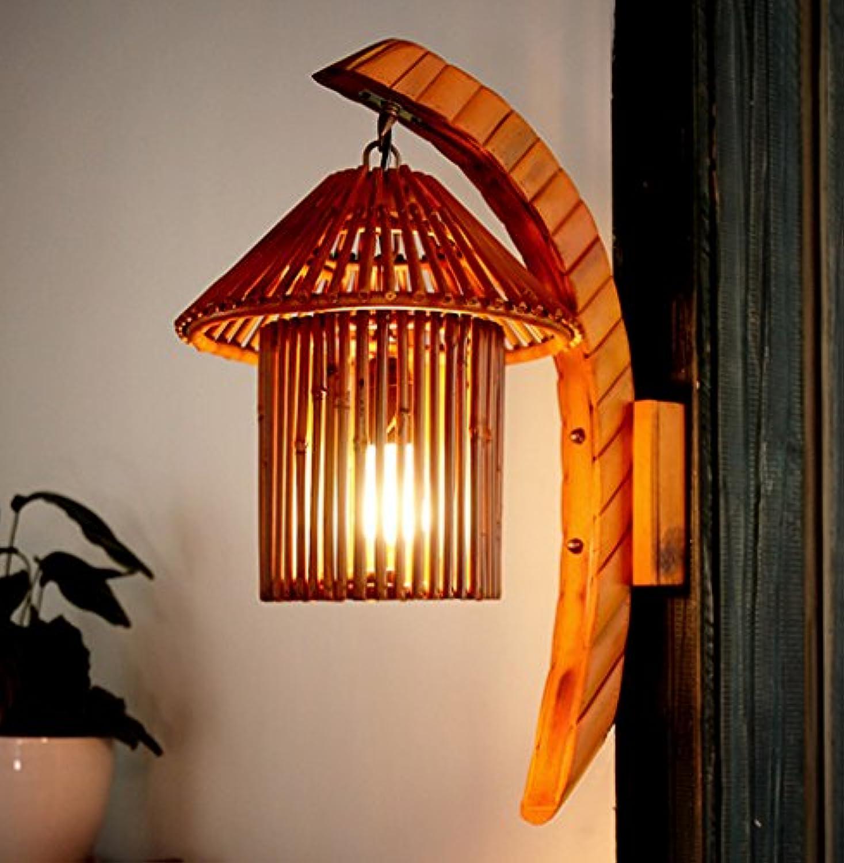 ZHDC Wandleuchte, natürliche Bambus Arts Wandleuchte Cafe Bar Bambus Licht Bauernhof Inn Aisle Kunst Wand Lampe E27 Lichtquelle Leselampe