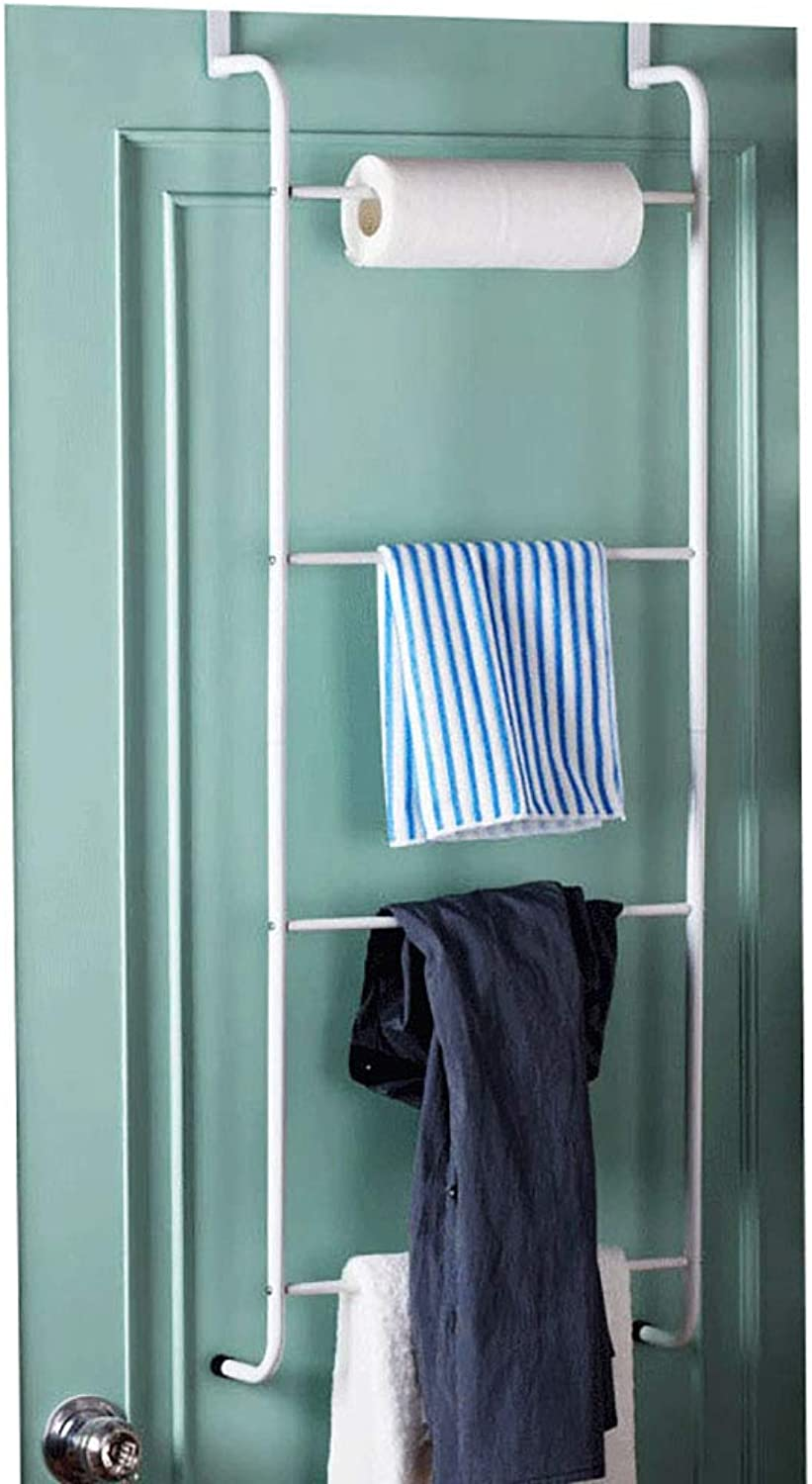 Iron Coat Rack Over Door Storage Rack Mounted Behind The Door (110cm 4 Poles)